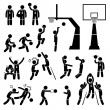 Basketball Player Action Poses Stick Figure Pictogram Icons — Stock Vector #71856951