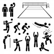 Volleyball Player Actions Poses Postures Stick Figure Pictogram Icons — Stock Vector #71856969