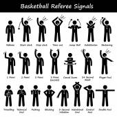 Basketball Referees Officials Hand Signals Stick Figure Pictogram Icons — Stock Vector