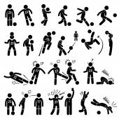 Football Soccer Player Footballer Actions Poses Stick Figure Pictogram Icons — Stock Vector