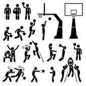 Basketball Player Action Poses Stick Figure Pictogram Icons — Stockvektor