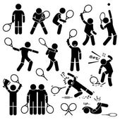 Tennis Player Actions Poses Postures Stick Figure Pictogram Icons — Stock Vector