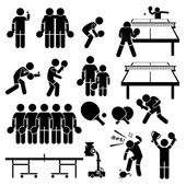 Table Tennis Player Actions Poses Stick Figure Pictogram Icons — Stock Vector