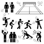 Badminton Player Actions Poses Stick Figure Pictogram Icons — Vector de stock