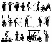 Golf Player Actions Poses Stick Figure Pictogram Icons — Stock Vector