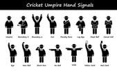 Cricket Umpire Referee Hand Signals Stick Figure Pictogram Icons — Stock Vector