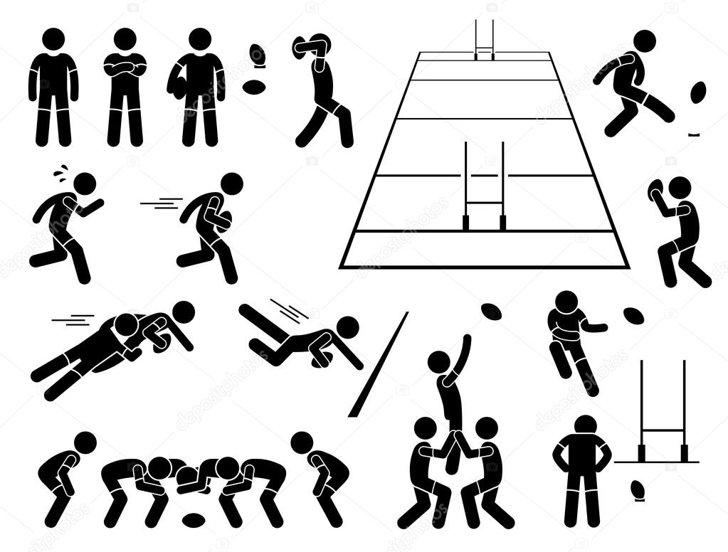 Rugby Player Actions Poses Stick Figure Pictogram Icons ...