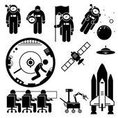 Astronaut Space Exploration Stick Figure Pictogram Icons — Stock vektor