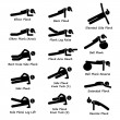 Plank Training Variations Exercise Stick Figure Pictogram Icons — Stock Vector #77033013