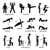 Body Workout Exercise Fitness Training (Set 1) Stick Figure Pictogram Icons — Stock Vector