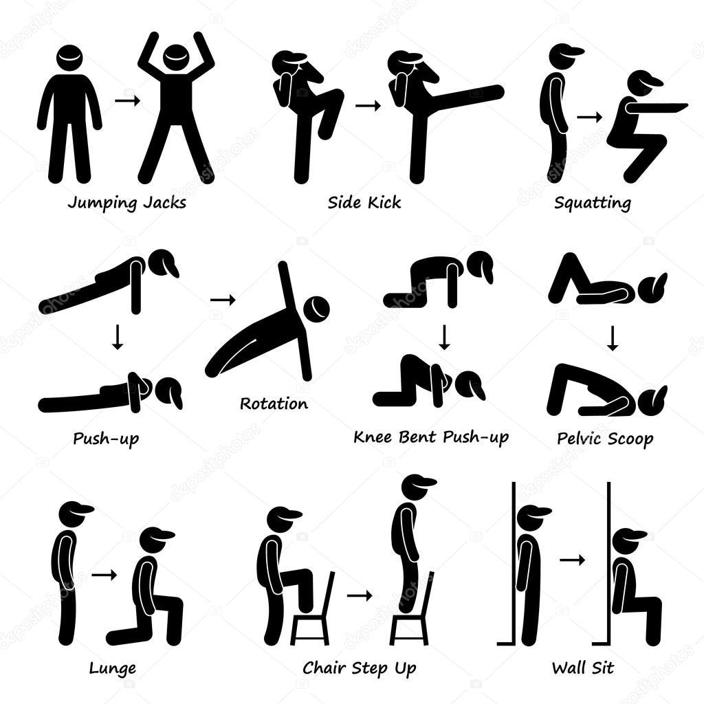 Body Workout Exercise Fitness Training (Set 1) Stick ...