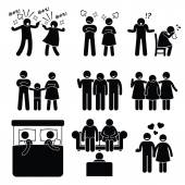 Marriage Family Problem Couple Husband Wife with Counselor — Stock Vector