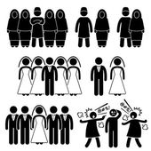 Polygamy Marriage Multiple Wife Husband Stick Figure Pictogram Icons — Stock Vector