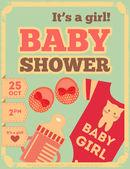 Baby Shower Retro Poster — ストックベクタ