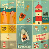 Summer Holidays posters set — Vector de stock