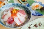 Sashimi set of fresh fish and seafood — Stock Photo