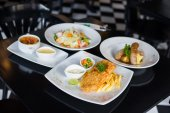 Set of variety foods on the restaurant table — Stock Photo