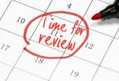 Time for review text write on calendar — Stock Photo