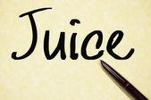 Juice word write on paper — Stock Photo