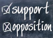 Support and opposition choice on blackboard — Stock Photo