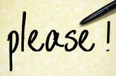 Please word write on paper — Stock Photo