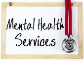 Mental health services text write on blackboard — Stock fotografie