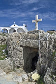 Agia Tekla old chapel carved into the rock and new church above Cyprus — Stock Photo