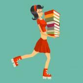 Student or schoolgirl with books on roller skates. — Stockvektor
