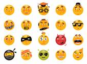 Vector set of funny smileys. Collection of isolated cartoon vector emoticons. — Stock Vector