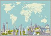 Vector map of the world with set of the most famous landmarks. — Stock Vector