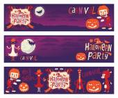 Halloween party. Set of three vector banners with funny characters for Halloween party — Stock Vector