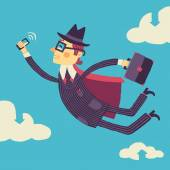 Businessman with a smartphone in hand flies through the cloud storage — Stock Vector