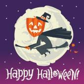 A flying witch on a broomstick on a background of the moon. Happy Halloween postcard, poster, background or party invitation. — Stock Vector