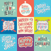 Set of Christmas and New Year labels with Hand Lettering Typography — Stock Vector