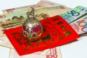 Chinese New Year envelope Lai Si with money and blessings — Stock Photo