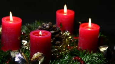 German advent wreath — Stock Video