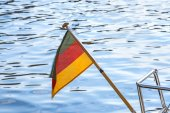 Flag of Germany at a sailing boat — 图库照片