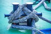 Mooring line of a trawler — Stock Photo