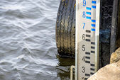 Stream gauge of the seaport of Ustka, Pola — Stock Photo