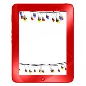Red tablet with multicolored lamp festive garland, isolated on white — Stock Photo