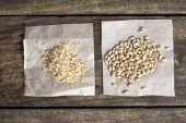 Raw soy flakes and wheat — Stock Photo