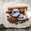 Chocolate crumbs, star anise and cinnamon sticks. — Stock Photo #57924703