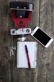 Retro camera and various personal items — Foto de Stock