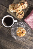 Delicious homemade  strudel with coffee — Fotografia Stock