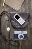 Woman bag stuff — Stock Photo