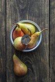 Pears on Dark Wooden Table — Stock Photo