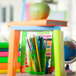 Abacus,globe, books and pencils on table,back to school concept — Stock Photo #53060635