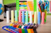 Colored tubes tempera and chalk, back to school concept — Stock Photo