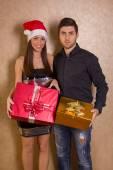 Boże Narodzenie, x-mas, zima, Walentynki, urodziny, para, hap — Zdjęcie stockowe