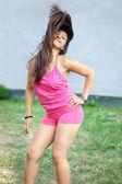 beautiful woman perform Zumba dance training in sunny day — Foto de Stock